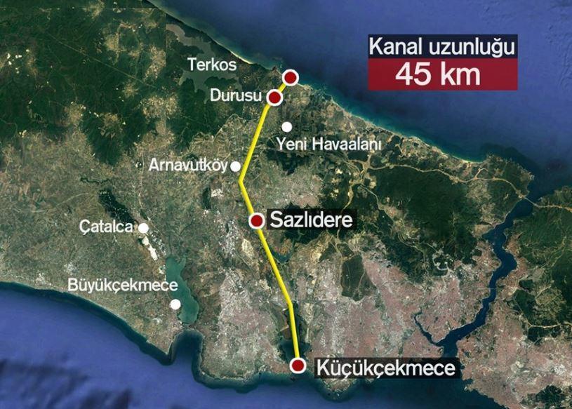 Kanal İstanbul Projesi Güzergahı Harita