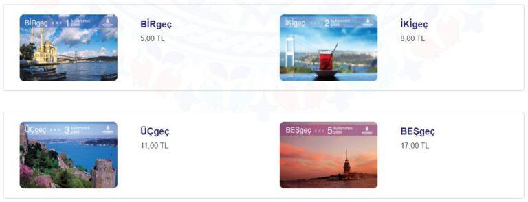 Sınırlı Kullanımlı Ulaşım Kartları Fiyatlar