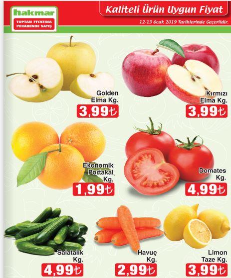 Hakmar 12-13 Ocak 2019 Meyve ve Sebze İndirimleri