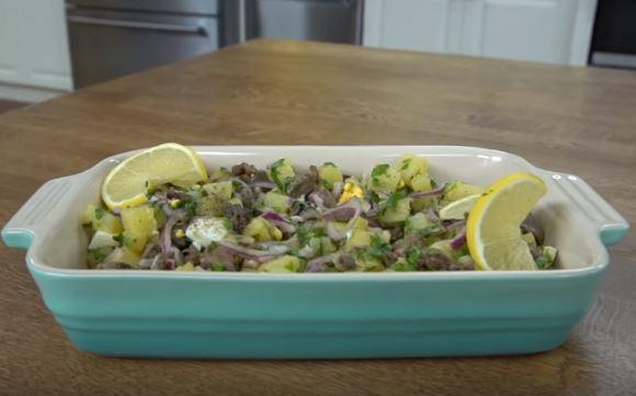 Tavuk Ciğerli Patates Salatası Yapımı