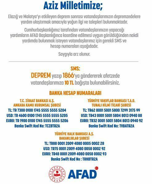 Elazığ ve Malatya Depremi Sonrası Bilgi ve Yardım